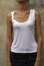Liu Jo Womens Tank Top Sleeveless bow T-shirt White Size 40 S Small