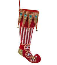 ELF SHOE STOCKING Jewels VELVET Plush BLING Katherine's Collection 14-614017 NEW