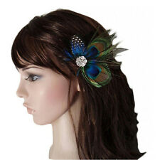 Cute Peacock Feather Bridal Wedding Hair Clip Headpiece Hair Accessory ESUS