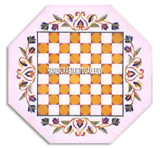 """15"""" White Marble Chess Coffee Table Corner Top Inlay Outdoor Mosaic Decor  H3286"""