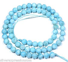 "Genuine Natural AAA Dominican Larimar 6mm Round Smooth Beads 15-3/4"" long"