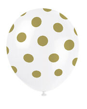 GOLD METALLIC POLKA DOTS LATEX BALLOONS (6) ~ Birthday Wedding Party Supplies