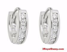 18k white gold layer Brilliance Round Cut CZ Hoop Huggie Earring on Solid Silver