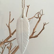 SET OF 2 WHITE PORCELAIN HANGING FEATHER DECORATIONS HOME DECOR FEATHERS ANGELS