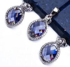 Oval Tanzanite CZ .925 Sterling Silver Earring & Pendant Jewelry set