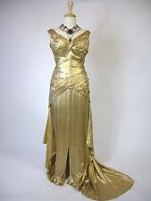 SPECTACULAR 1940s Hollywood Glamour Silk Luxurious Gold Lame Ball Gown Dress