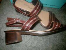 Easy Steps 11 C Brown Cognac Jargon Softee Patent Leather Ankle Strap Sandals