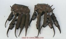 """10"""" Old Chinese Bronze War General Protective Sleeve Gloves Sharp Claws Pair"""