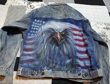 Vintage Denim Biker Jacket  Harley Davidson Size L with AIRBRUSHED EAGLE