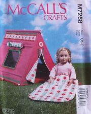 "18"" GIRL DOLL SLEEPING BAG & TENT  McCall's Sewing Pattern 7268 American Made"