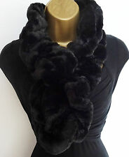 Beautiful Ruffle Super Soft Faux Fur Scarf Tuck Through Elasticated Black