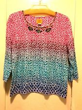 Lovely Ruby Rd Colorful  Floral T-Knit Top Beaded Neckline  Petite Lg NWT $54