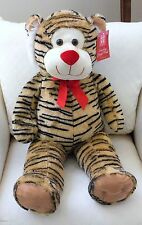 "NEW Large Jungle TIGER 35"" Plush EXTRA Soft CUDDLY Red Bow Best Made Toys"