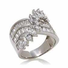 VICTORIA WIECK 3.29CT ABSOLUTE MARQUISE BAGUETTE OVERLAY SILVER RING SIZE 10 HSN