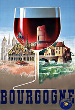 Art Ad   French Travel Poster Bourgogne RED WINE   Poster Print
