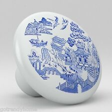 Oriental Blue Willow Ceramic Knobs Pulls Kitchen Drawer Cabinet Vanity 349