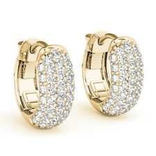 1ct Natural Round Cut Natural Diamond Cluster Huggie Earrings 14k Yellow Gold