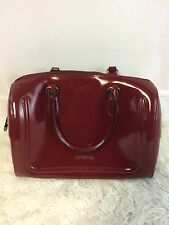 CROMIA ITALY SATCHEL Glossy Deep Red Leather Handbag Silver-tone Hardware