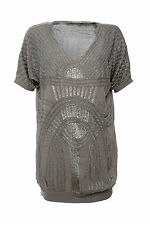 TWIN SET SIMONA BARBIERI BEADED TUNIC DRESS TOP S  RP£295