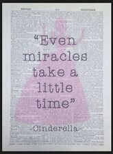 Cinderella Quote Vintage Dictionary Wall Art Print Picture Miracles Princess