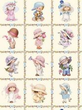 Elizabeth's Studio Sunbonnet Emma & Friends 4116E CRM Cream Squares  Cotton Fab