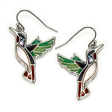 Hummingbird Fashionable Earrings - Fish Hook - Abalone Paua Shell