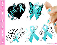 Ovarian Cancer and Cervical Cancer Teal Ribbon Support Nail Art Decal Stickers