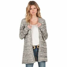 2016 NWT WOMENS VOLCOM RESTED HEART CARDIGAN $59 S black white cotton acrylic