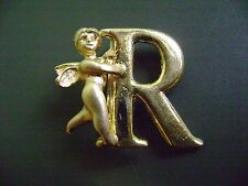 "NWT- FASHION  GOLD TONE INITIAL LETTER ""R"" ANGEL CHERUB  PIN/BROOCH"