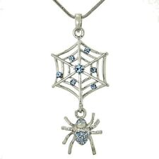 SPIDER W Swarovski Crystal Cobweb Web Charm Blue Luck New Necklace Pendant Gift
