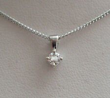 "New 1/10 ct SI2 Diamond Solitaire 9ct White Gold Pendant & 18"" Chain £109.99"