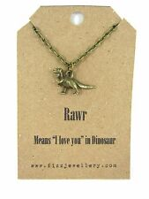 "Rawr Means ""I love You"" Quirky T-rex Dinosaur Bronze Necklace Message Gift New"