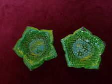 Pair Of Hand Made Millefiori Cased In Clear Glass Murano Dishes 5 Pointed Green
