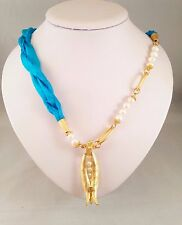 Handmade Asymmetric Genuine Blue Silk & Fresh Water Pearls Tulip Charm Necklace