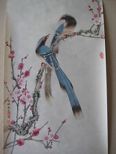 Chinese Watercolor Flowers & Birds On Race Paper Signed By Yun Feng Ma Shi 雲峰馬氏