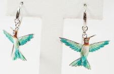 Nicole Barr Sterling 925 Hand Enameled Humming Bird Design Earrings