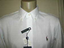 $98. (L) POLO-RALPH LAUREN White Knit Pique Oxford Shirt (Slim Fit)