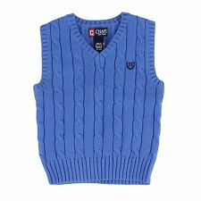 Chap's Boy's Small Blue V-Neck Knit Sweater Vest Cable Knit Shirt NEW $40