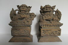 "Vintage Asian Chinese Gilt Carved Wood Foo Dogs Statues 8.25"" tall"