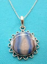 925 Sterling Silver Pendant With Natural Blue Stripped Botswana Agate  (nk1501)