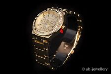 Luxury Mens Diamond Dial Quartz Gold Bracelet Watch Hiphop Bling Iced Out B