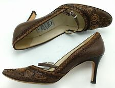 EMMA HOPE'S SHOES Brown Embroidered Leather Strap Size 38.5 US 8.5M Italy Pumps