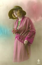 1920s French Deco FASHION BEAUTY tinted photo postcard