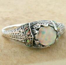 WHITE LAB OPAL ANTIQUE VICTORIAN DESIGN 925 STERLING SILVER RING SIZE 5.75, #643