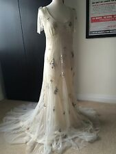 JENNY PACKHAM  sz 10 Ivory MADAM BUTTERFLY  Vintage Sequin & Bead WEDDING DRESS