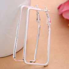 Fashion Women 925 Sterling Silver Plated Square Hoop Studs Dangle Earrings New