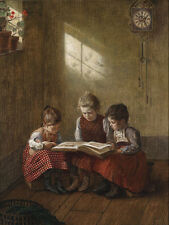 "perfect oil painting handpainted on canvas""three girls  reading a  book""@N5723"