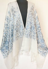 Gray Crewel Embroidery on Ivory  Wool Shawl Kashmir  Ari Embroidered Stole