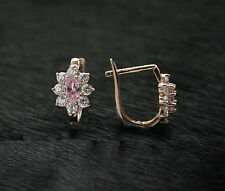 585 Russian Rose Red 14k Gold Pink CZ Hoop Huggie Drop Earrings Gift Boxed