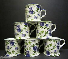 Set Of 6 Ivy Rose Blue Chintz English Fine Bone China Mugs Cups By Milton China